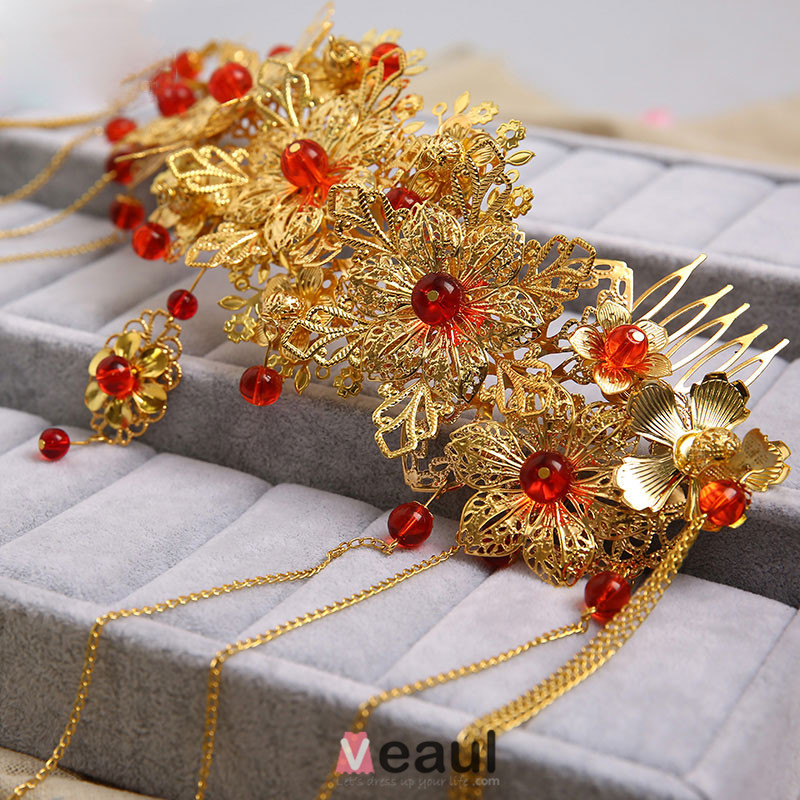 Chinese Style Classical Bridal Headpiece Head Flower Wedding Hair
