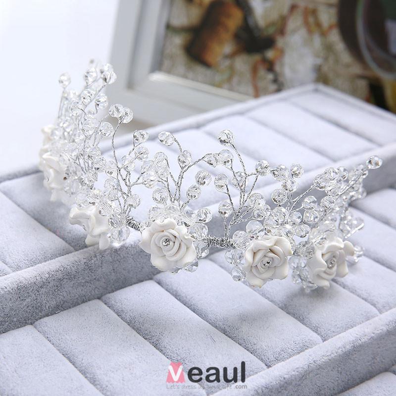 Fashion Rhinestone Bridal Headdress Wedding Hair Accessories With Flower