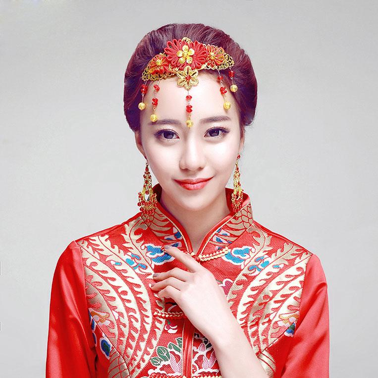 Red Classical Headwear / Earrings Two-piece