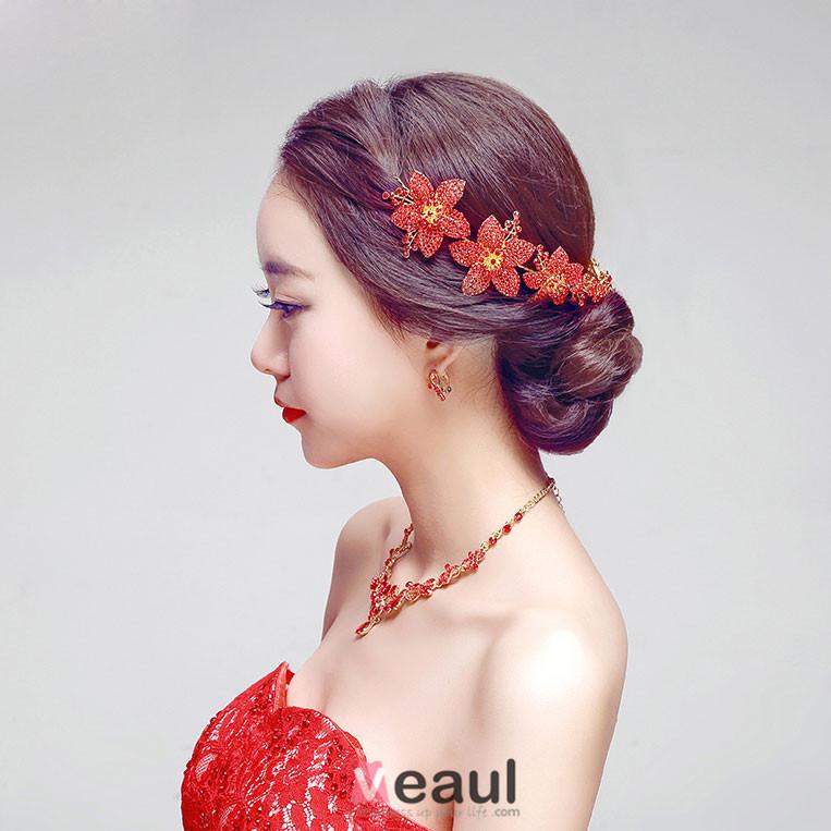 Red Rhinestone Flower The Bridal Headpiece / Earring / Necklace Three-piece