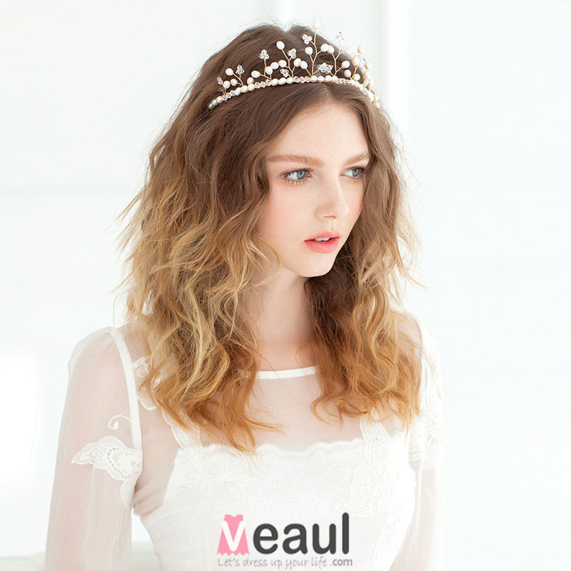 Branch Shape Crown Pearl Headdress / Golden Luxury Vintage Bridal Hair Accessories