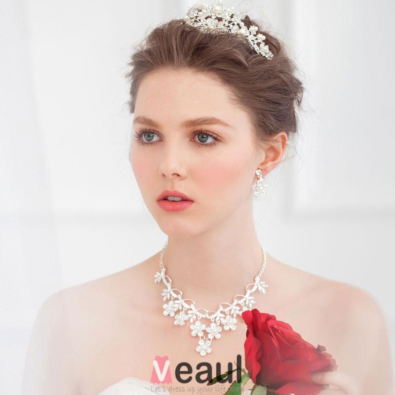 Bridal Tiara Necklace Earrings Three-piece Wedding Dress Accessories