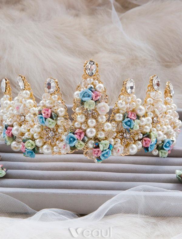 Ceramic Flowers Wedding Dress Crown Wedding Tiara Bridal Crown 2016