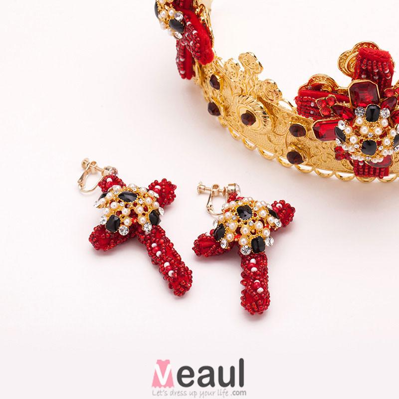 Church Wedding Tiara /Golden Crown /Diamond Earrings Piece Fitted