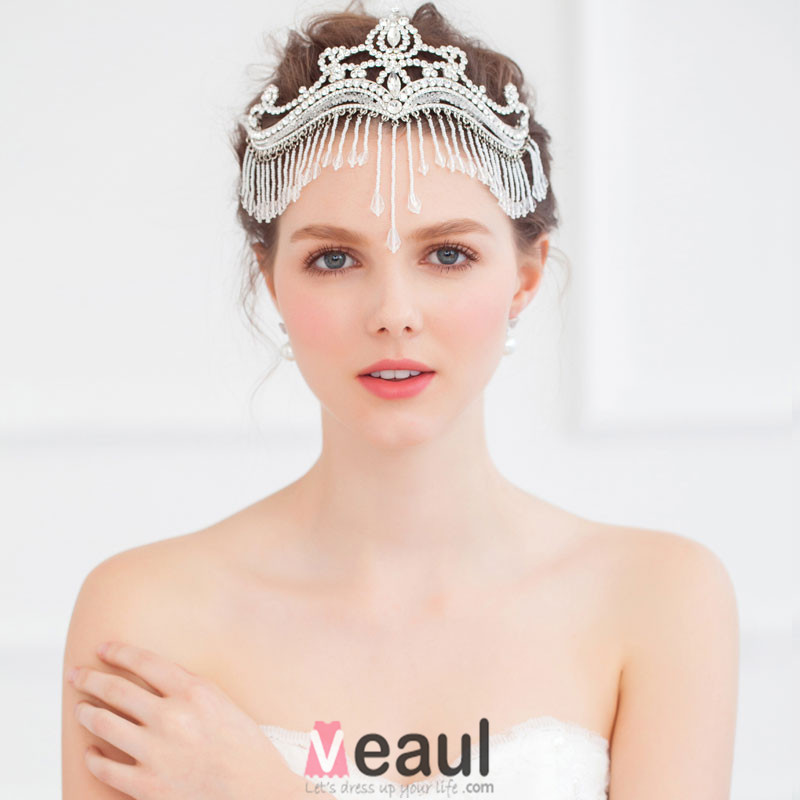 Exquisite Crystal Beaded Tassel Frontlet /Bridal's Headdress / Wedding Hair Accessories