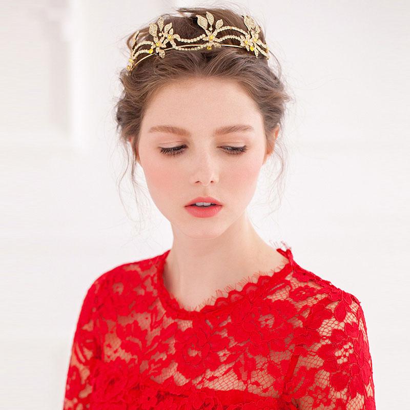 Golden Vintage Diamond Bridal Tiara / Luxury Crown