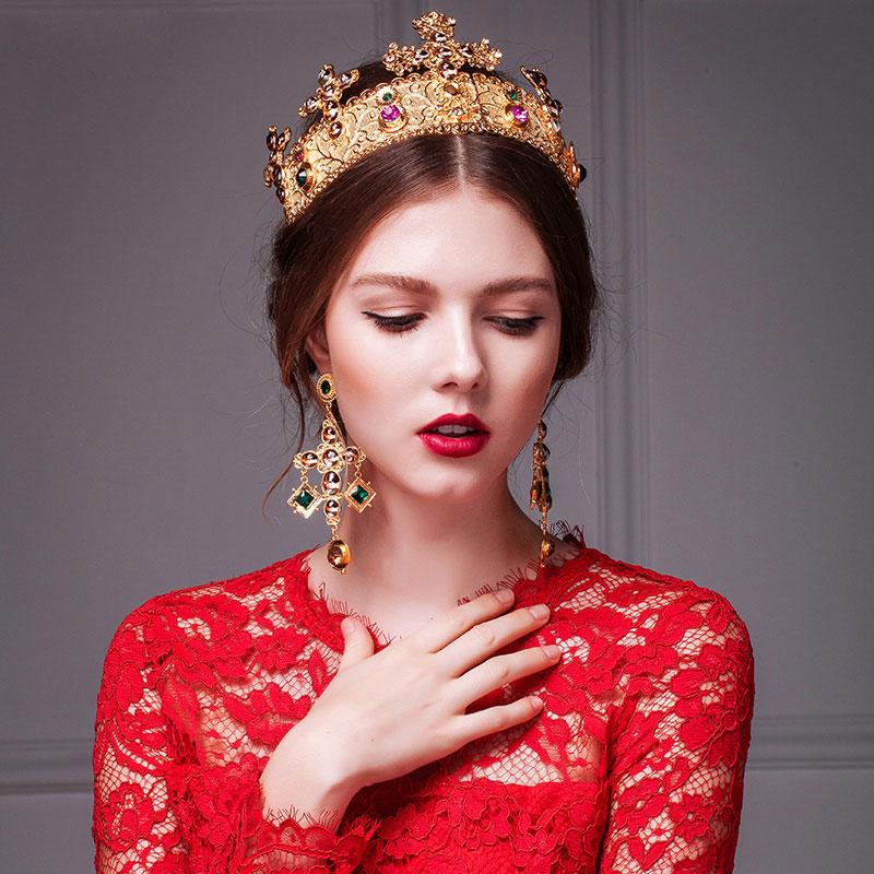Retro Golden Crown Headdress / Handmade Exaggerated Earrings