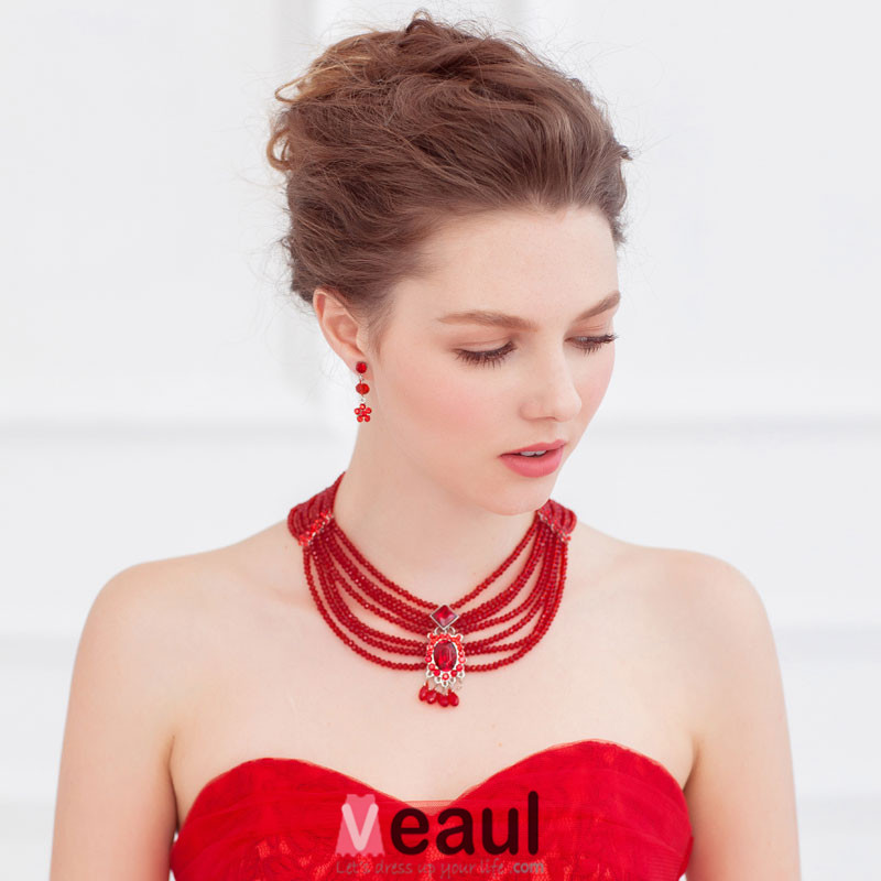 Two-piece Necklace / Earrings / Red Bridal Wedding Accessories