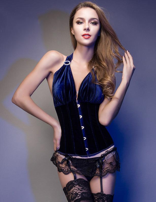 Dark Blue Sleeveless Halter Girly Corset