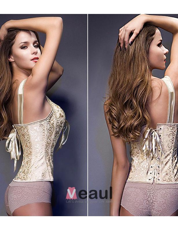 Pearl White Sleeveless Shoulders Printing Girly Corset