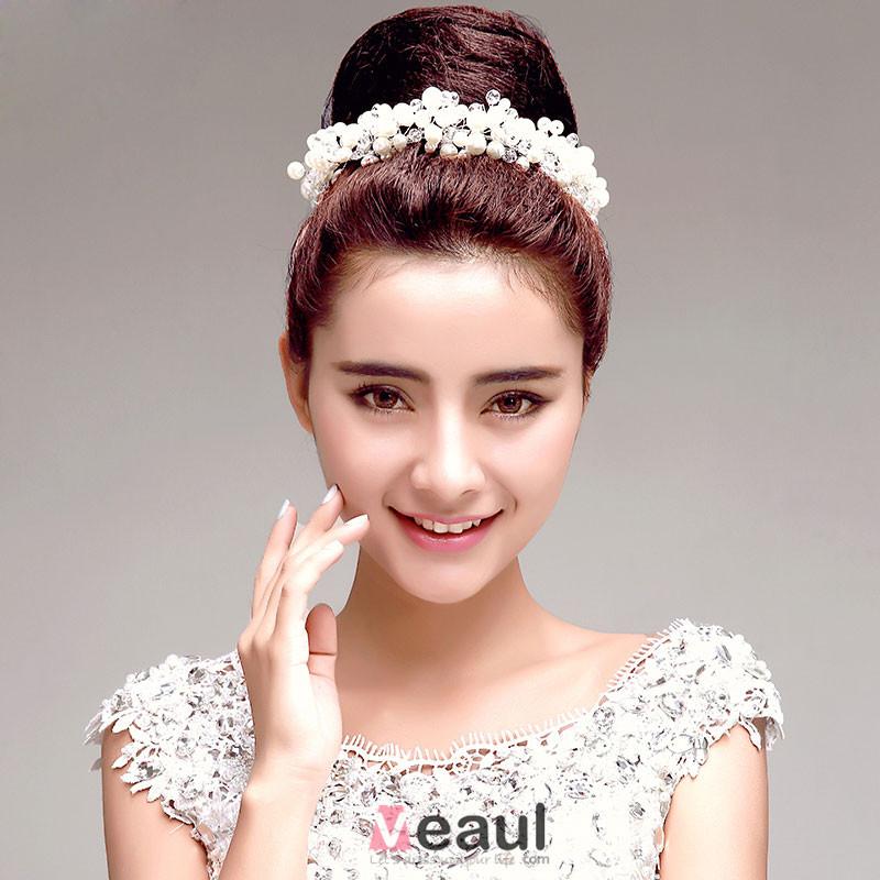 blanc perle strass marie coiffure fleur tete accessoires de cheveux de mariage bijoux - Accessoir Cheveux Mariage