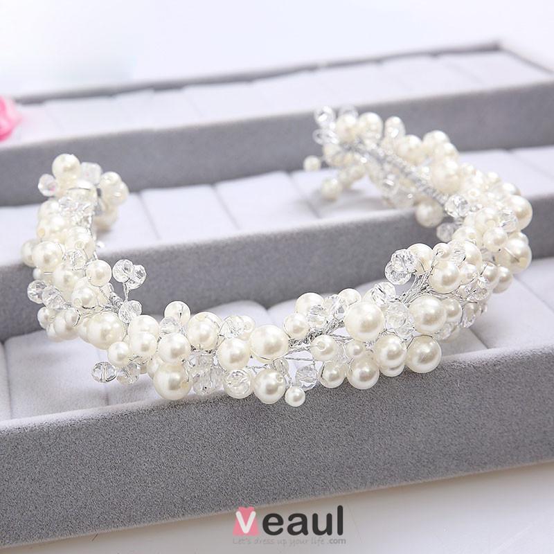Blanc Perle Strass Mariée Coiffure / Fleur Tete / Accessoires De Cheveux De Mariage / Bijoux