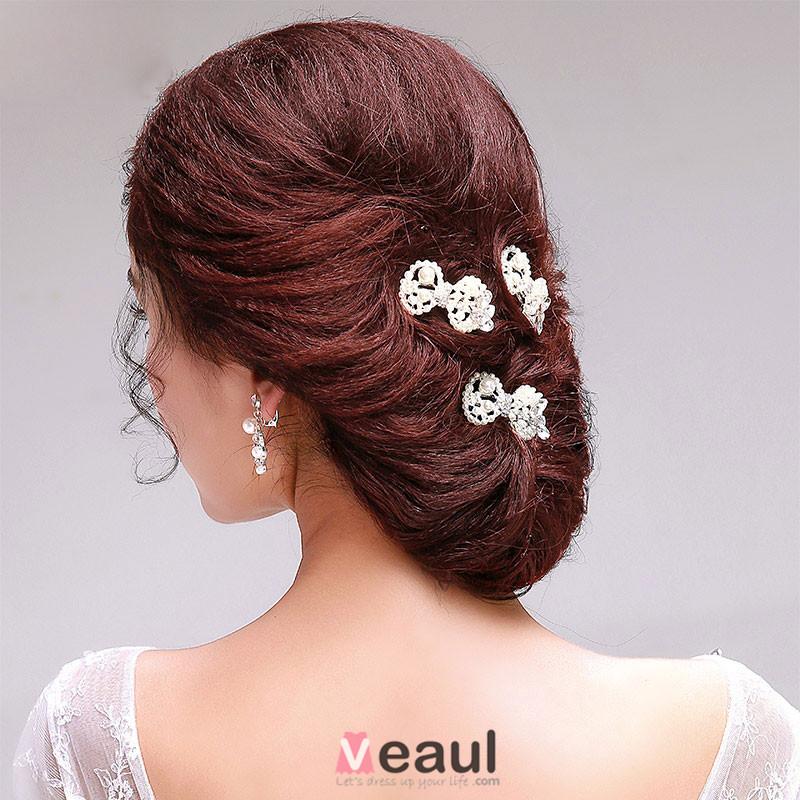Blanc Strass Papillon Noeud Perles De Mariée Coiffure / Fleur Tete / Accessoires De Cheveux De