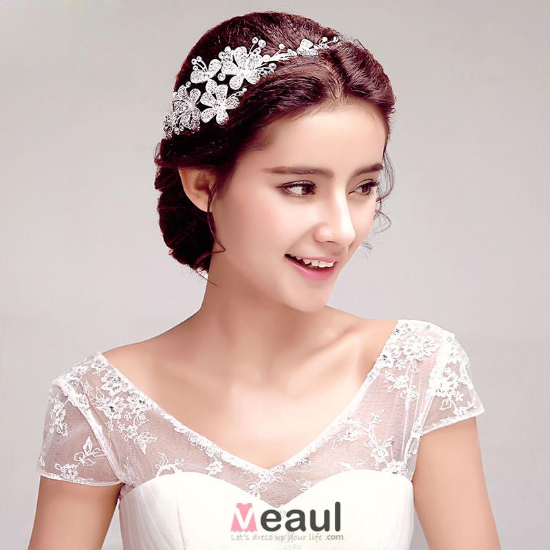 brillance strass marie coiffure fleur tete accessoires de cheveux de mariage bijoux de - Accessoir Cheveux Mariage