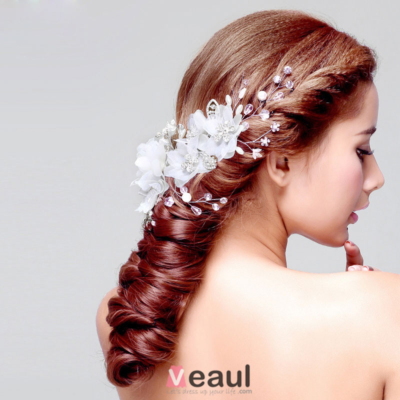 coiffure de marie en dentelle fleur tete accessoires de cheveux de mariage bijoux - Accessoir Cheveux Mariage