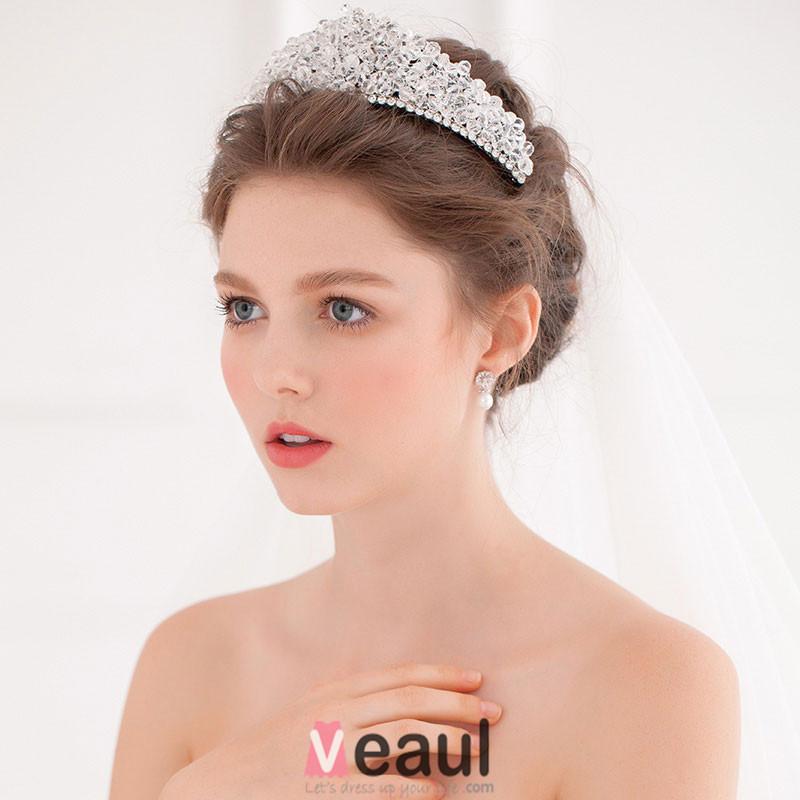 cristal de luxe diamant flash avec grande couronne diademe mariage tiare - Diademe Mariage Pas Cher
