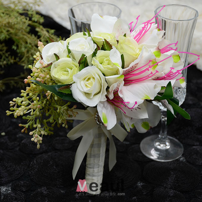 Simulation artificielle fleur en soie petite fleur rose fille bouquet de mari - Bouquet de fleurs artificielles pour mariee ...