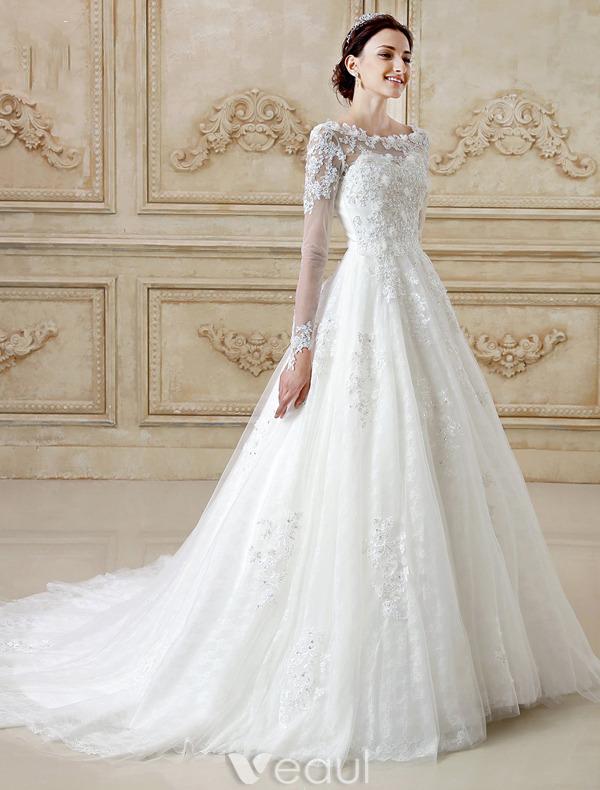 Wunderschönen Hochzeitskleider 2016 A-linie Spitzen Rückenfreies ...