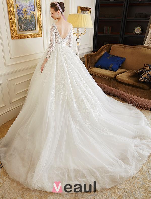... Luxus Ballkleid Rückenfrei Lösliche Spitze Brautkleid Mit Schärpe
