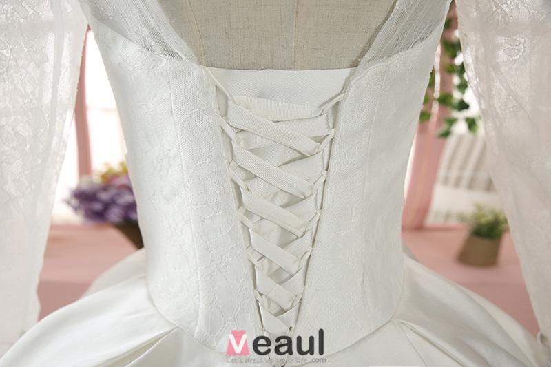 ... Langarm Spitze Backless Weißen Satin Brautkleid Mit 1 M Tailing