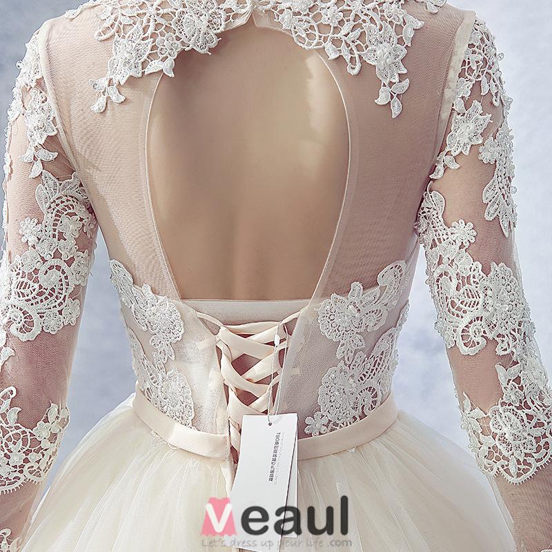 ... Design Rückenfrei Champagner Tüll Brautkleid Mit Schleife Schärpe