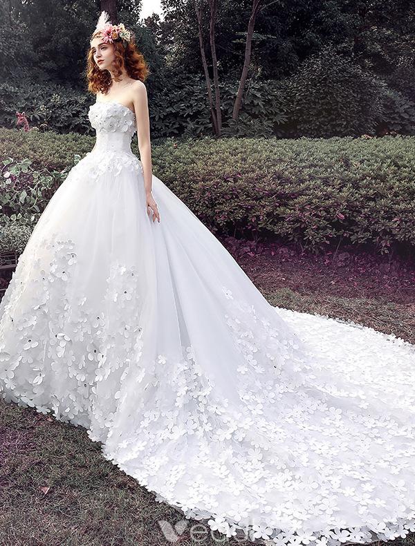 Glamourösen Hochzeitskleider 2016 Ballkleid Applique Weißem Tüll ...