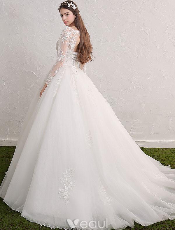 ... Pailletten-applique Spitze Rüsche Tüll Brautkleid Mit Langen Ärmeln