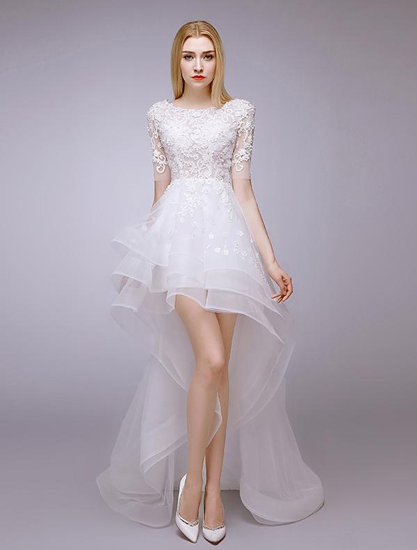 ... Sicke & Spitze Sommer Asymmetrischen Kurz Brautkleider Hochzeitskleid
