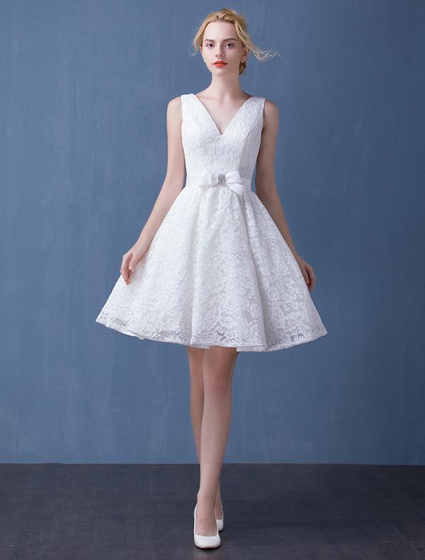 ... Kurzen Hochzeitskleid Brautkleid Mit Schärpe [161512001] - Veaul.com