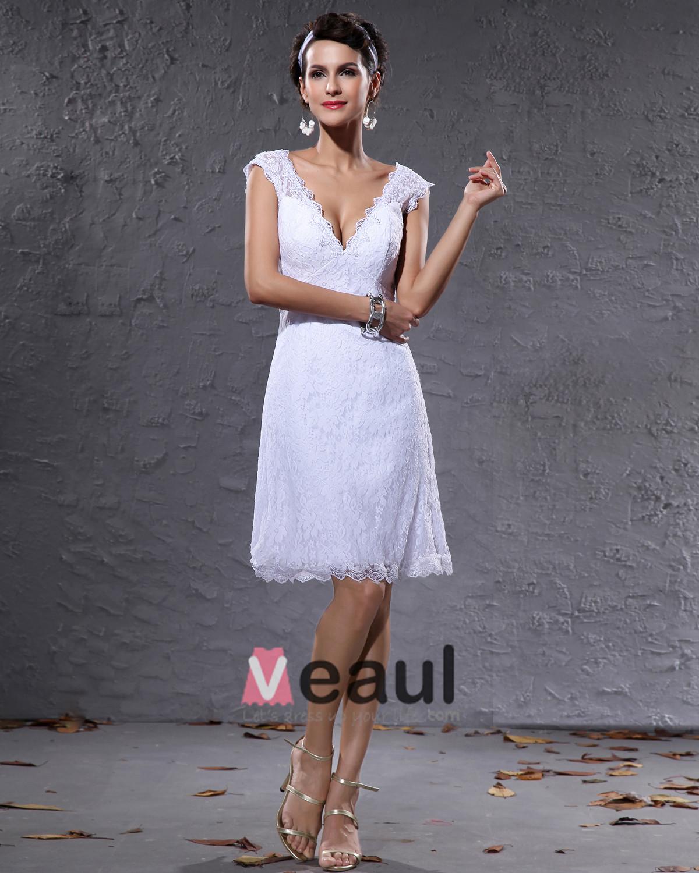 Elegante Satin Spitze V-ausschnitt Knielangen Kurz Mini-hochzeitskleid ...