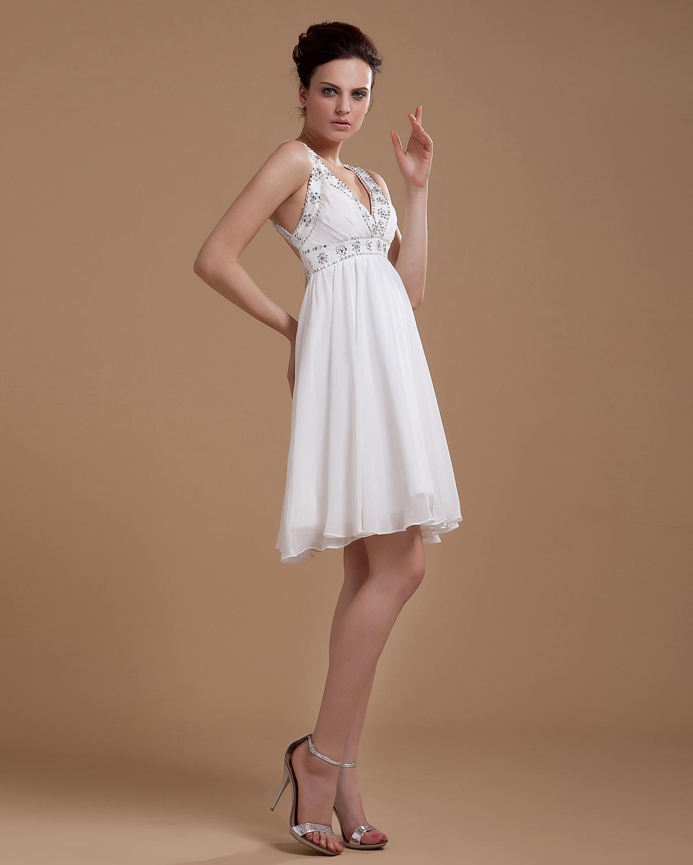 ... ausschnitt Rüschen Schärpe Mini Brautkleid Chiffon Brautkleid Kurz
