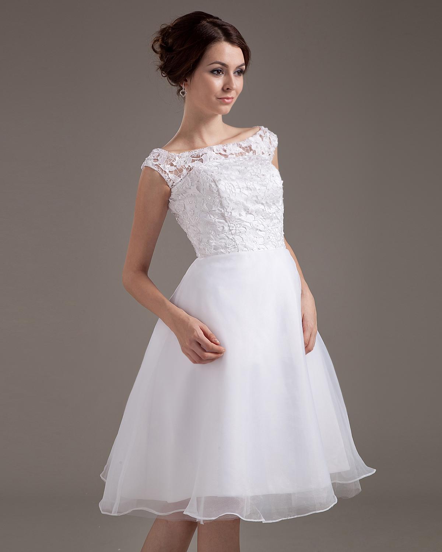 Brautkleid-Kurz-Spitze-Schärpe-Juwel-Kurz-Brautkleider-Hochzeitskleid ...