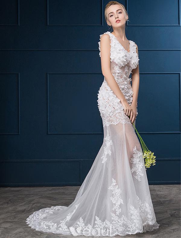 Sexy Hochzeitskleider 2016 Meerjungfrau V-ausschnitt-spitze Blumen ...