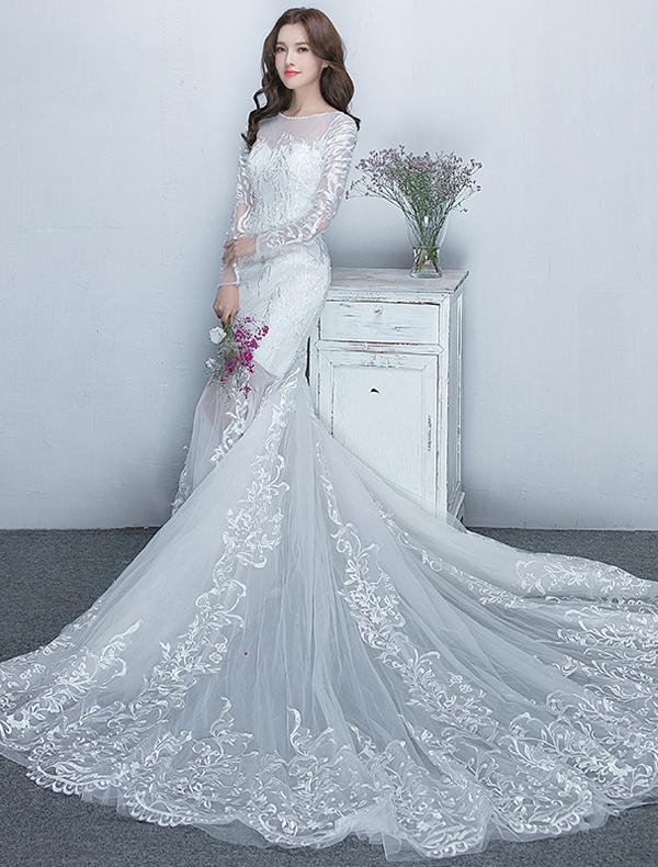 Wunderschöne Meerjungfrau Hochzeitskleider 2017 U-ausschnitt Weiße ...
