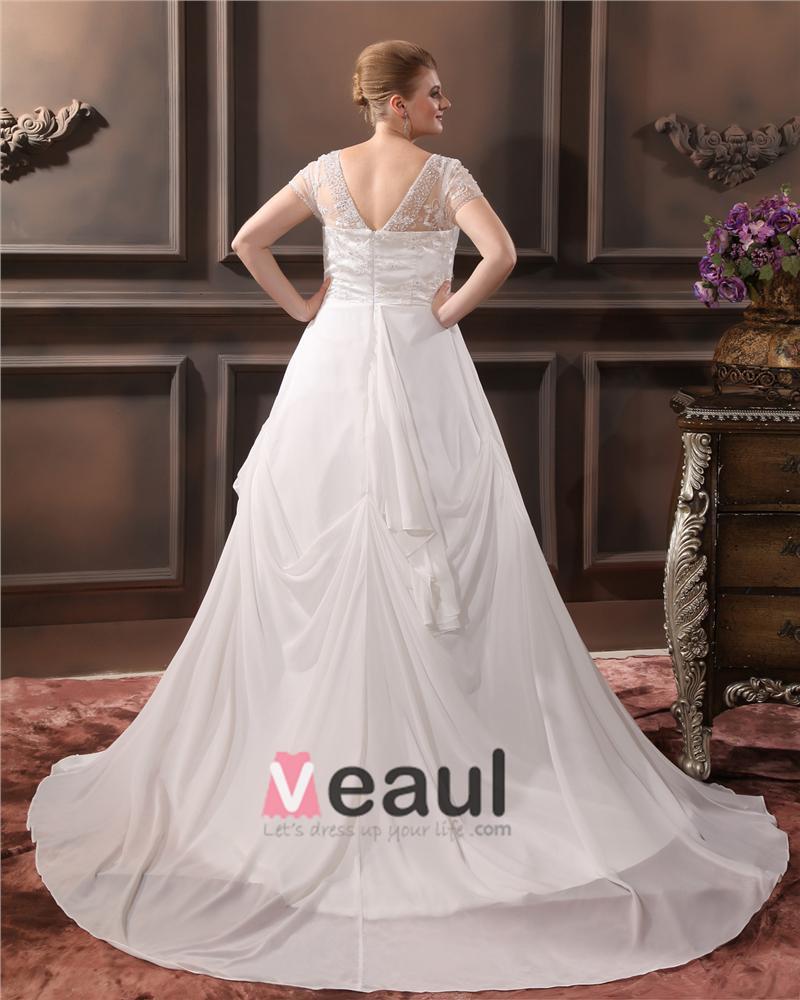 ... Sicke V-ausschnitt Gericht Große Größen Brautkleider Hochzeitskleid