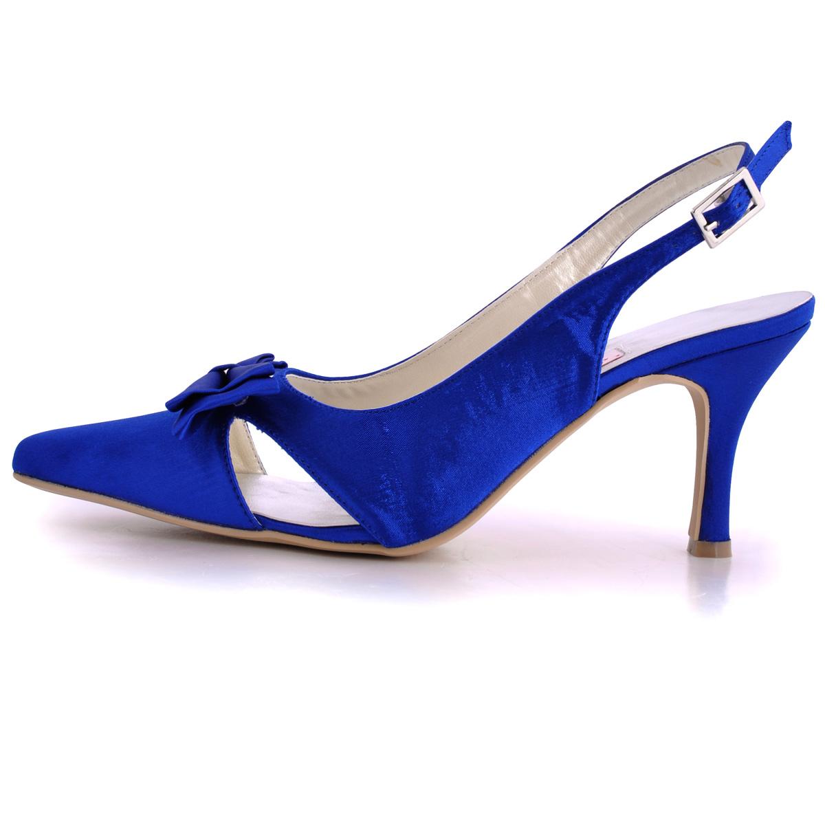 Satin bleu chaussures de mariage