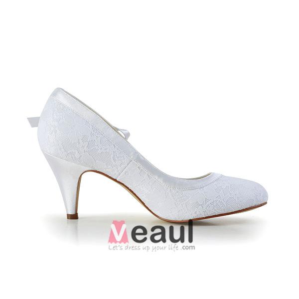 l gant bout rond milieu talons escarpins de dentelle blanche chaussures de mari e mariage avec. Black Bedroom Furniture Sets. Home Design Ideas