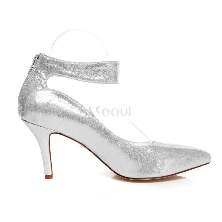argent brillant chaussures de marie escarpin stilettos chaussures talons de mariage paillettes avec bride cheville - Escarpin Argent Mariage