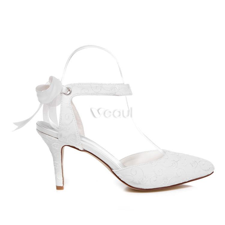 belle brod satin chaussures de marie talons aiguilles blanches sandales de mariage avec bride cheville - Chaussures Compenses Blanches Mariage