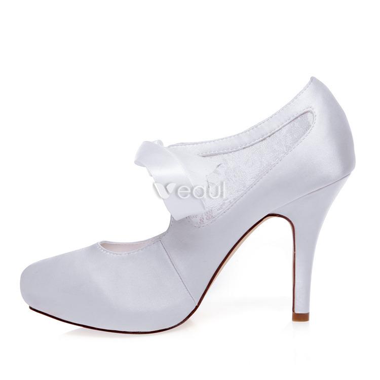 belles escarpins de mariage blanc stiletto talons dentelle chaussures de mariage talon haut avec. Black Bedroom Furniture Sets. Home Design Ideas