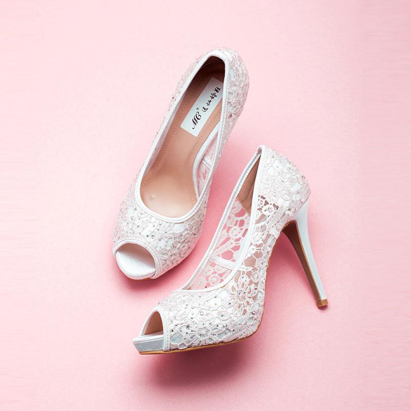 Dentelle Tete Brillance Strass De Poisson Blanc Mariée De Chaussures / Chaussures De Mariage / Chaussures