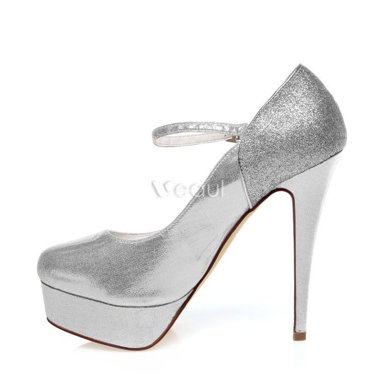 escarpins paillettes chaussures de mariage bride cheville 13 cm stilettos la plateforme dargent chaussures - Escarpin Argent Mariage