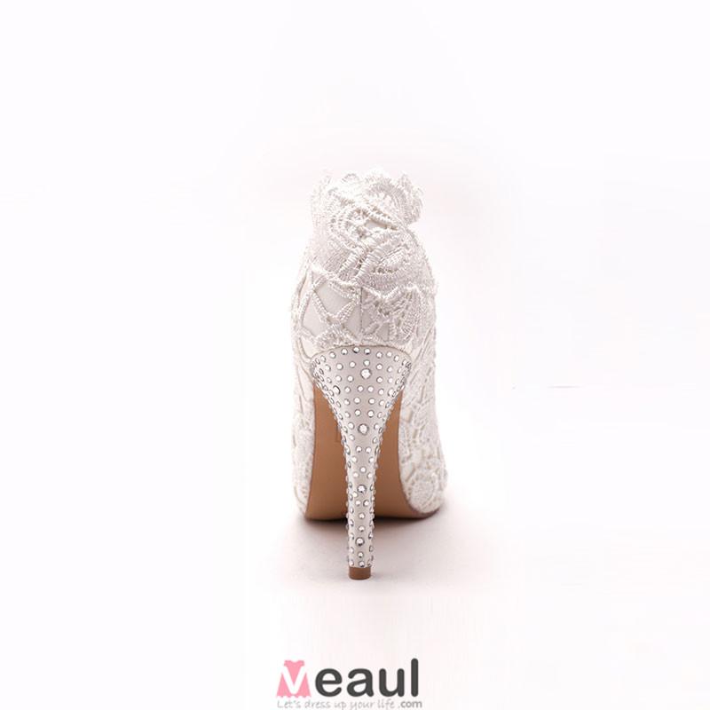 la tete de poisson blanc dentelle marie de chaussures chaussures de mariage chaussures femme - Chaussures Compenses Blanches Mariage