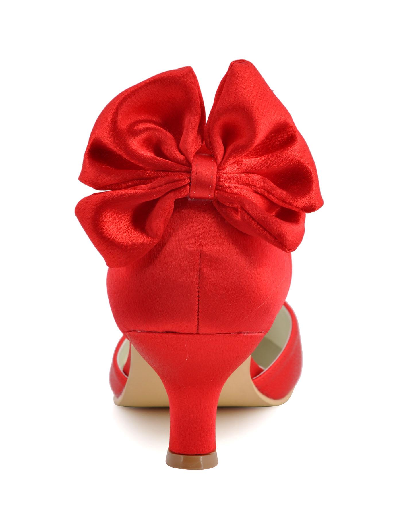 ... Chaussures Noeud Mariage A Talons Hauts En Satin Avec Anneau De Pied