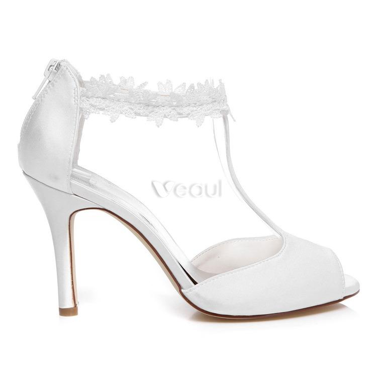 sandales de mariage simple avec sangle cheville de dentelle 9 cm stilettos chaussures de marie blanches - Chaussures Compenses Blanches Mariage