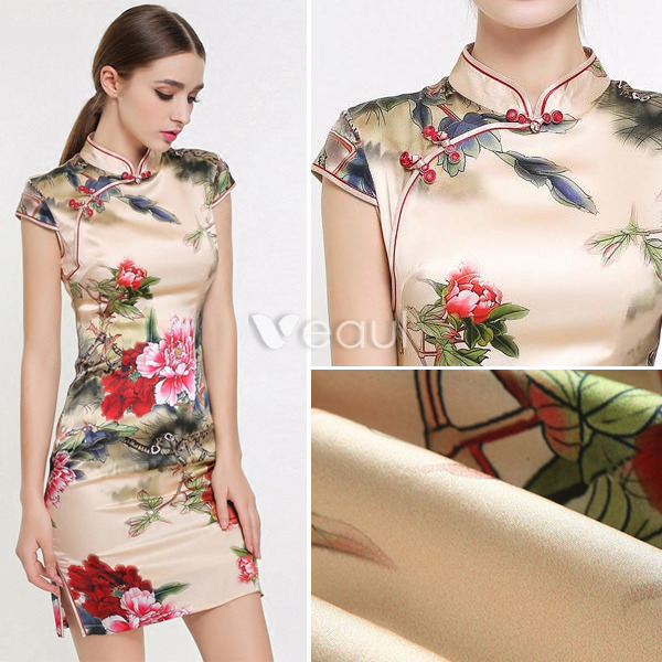 Elegant Cheongsam 2016 High Neck Short Sleeves Printing Flowers Elastic Natural Silk Qipao Evening Dress