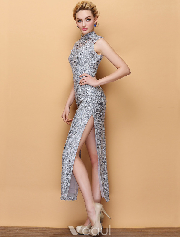 Sparkly Cheongsam 2016 High Neck Pierced Lace Sequin Tea Length Qipao Evening Dress