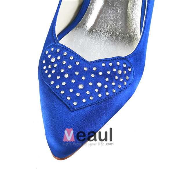 Einfache Blaue Formale Schuhe Satin Stilettos Pumps Mit Strass ...
