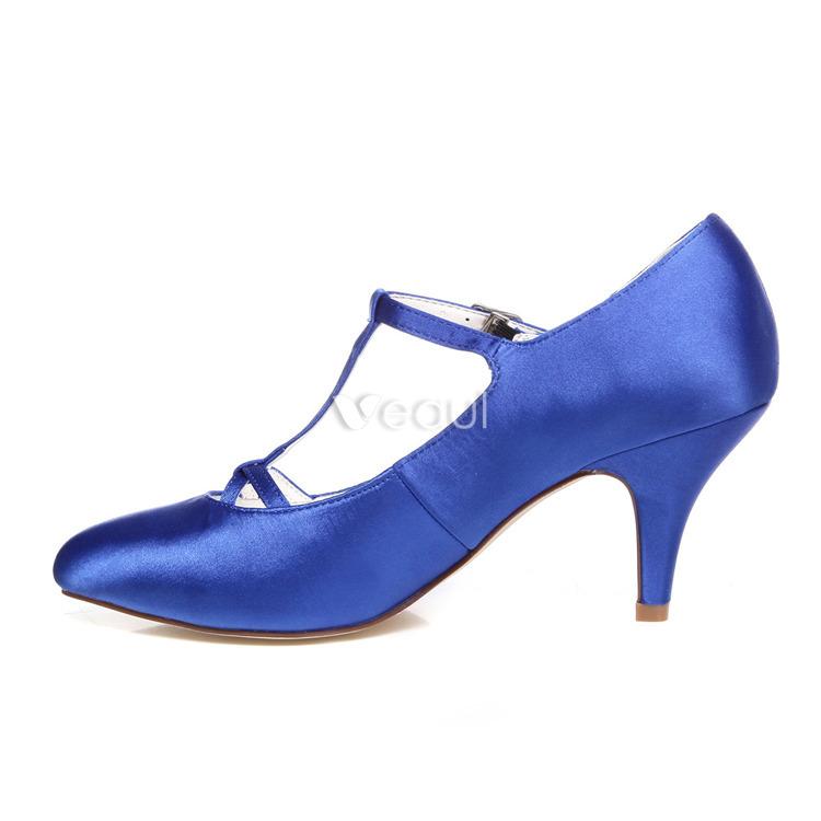 Klassische Blaue Brautschuhe 8cm Stilettos Pumps Satin Hochzeitsschuhe ...