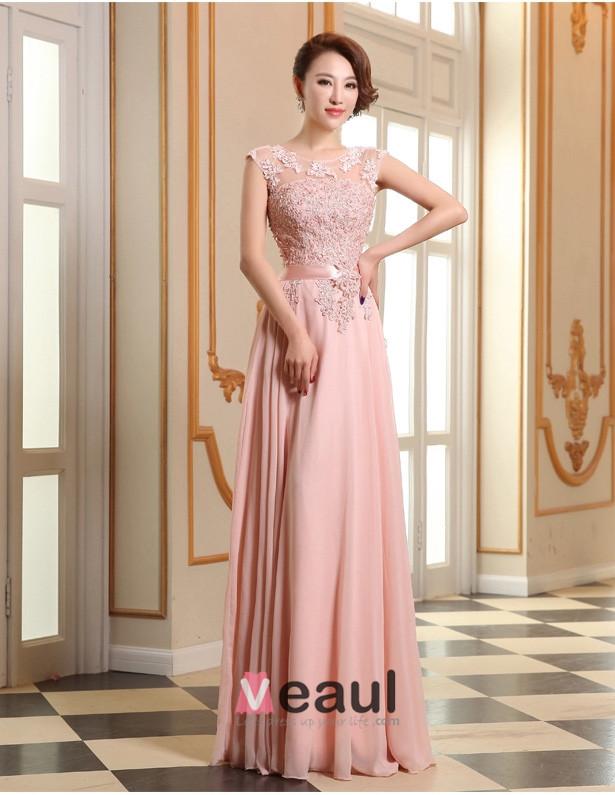 2015 rosa formales kleid a linie spitze abendkleid mit. Black Bedroom Furniture Sets. Home Design Ideas